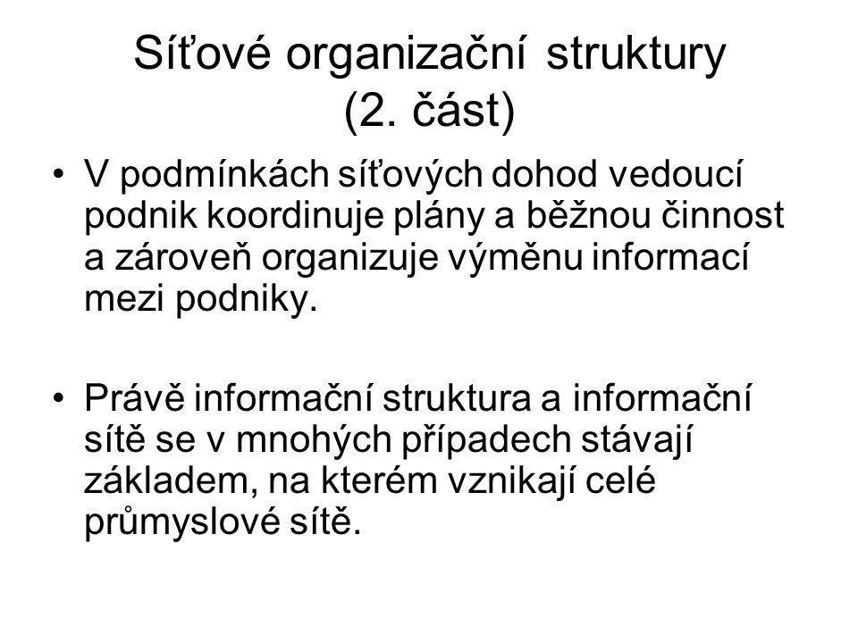 Síťové organizační struktury (2. část) V podmínkách síťových dohod vedoucí podnik koordinuje plány a běžnou činnost a zároveň organizuje výměnu inform