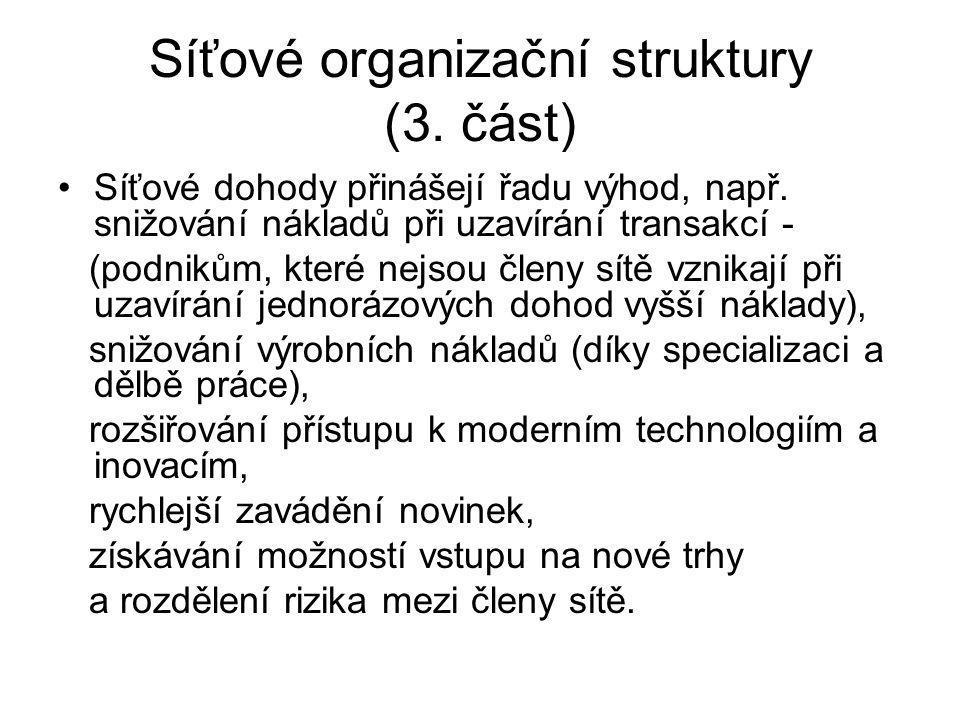 Síťové organizační struktury (3. část) Síťové dohody přinášejí řadu výhod, např. snižování nákladů při uzavírání transakcí - (podnikům, které nejsou č