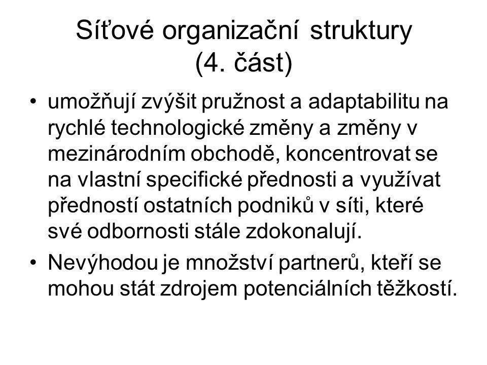 Síťové organizační struktury (4. část) umožňují zvýšit pružnost a adaptabilitu na rychlé technologické změny a změny v mezinárodním obchodě, koncentro