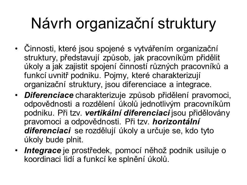 Integrace a diferenciace Souhrnně řečeno, diferenciace představuje způsob rozdělení podniku na jednotlivé části a integrace představuje způsob, jakým jsou jednotlivé části spojovány.