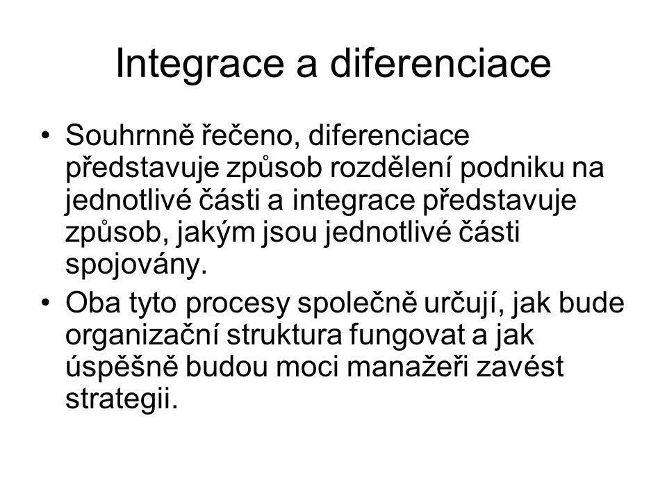 Integrace a diferenciace Souhrnně řečeno, diferenciace představuje způsob rozdělení podniku na jednotlivé části a integrace představuje způsob, jakým