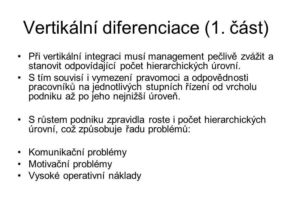Vertikální diferenciace (1. část) Při vertikální integraci musí management pečlivě zvážit a stanovit odpovídající počet hierarchických úrovní. S tím s