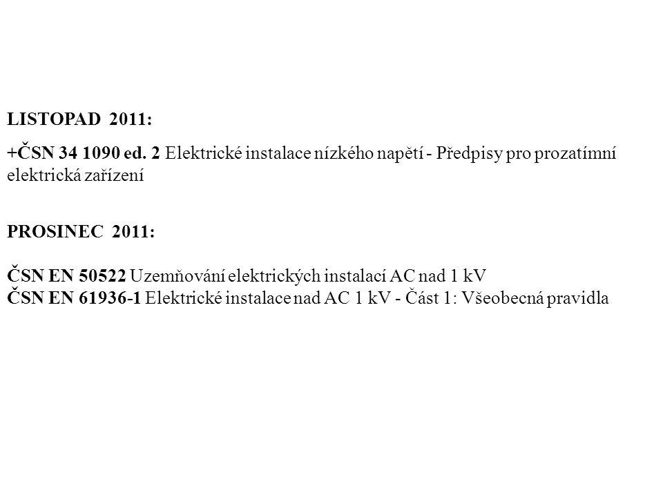 LISTOPAD 2011: +ČSN 34 1090 ed. 2 Elektrické instalace nízkého napětí - Předpisy pro prozatímní elektrická zařízení PROSINEC 2011: ČSN EN 50522 Uzemňo