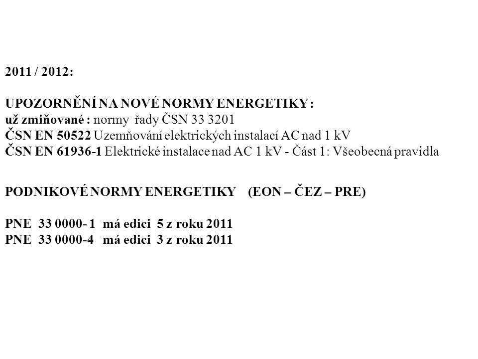 2011 / 2012: UPOZORNĚNÍ NA NOVÉ NORMY ENERGETIKY : už zmiňované : normy řady ČSN 33 3201 ČSN EN 50522 Uzemňování elektrických instalací AC nad 1 kV ČS