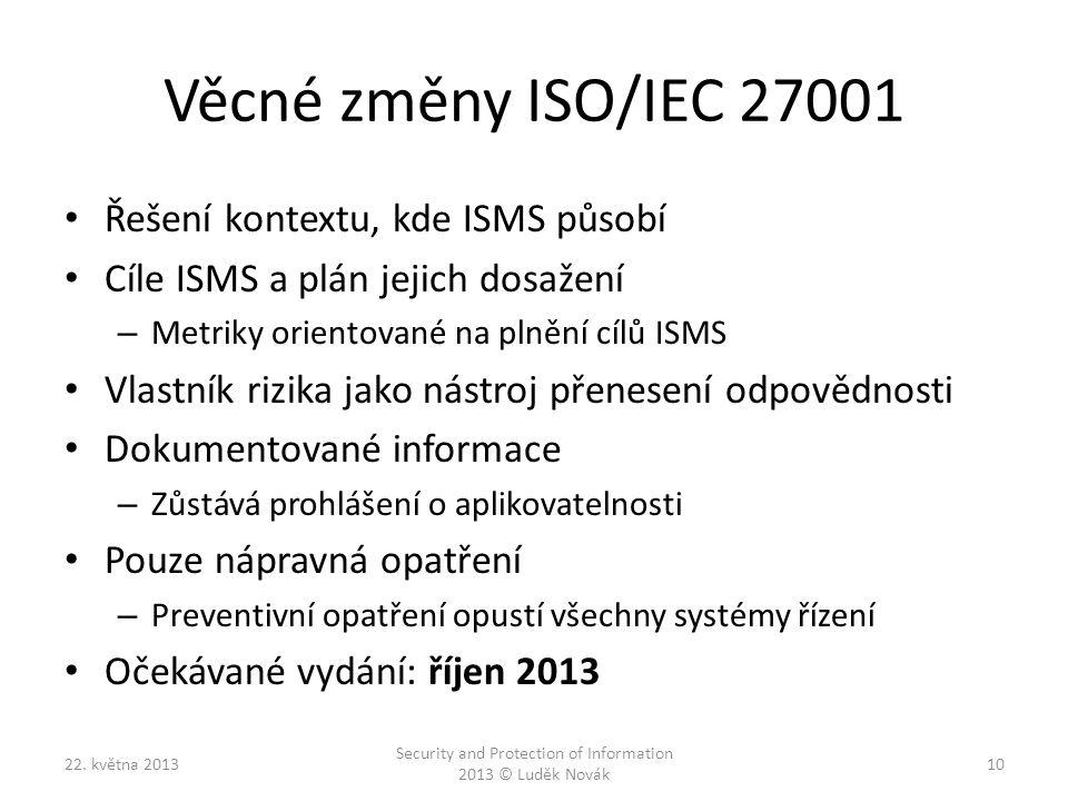 Věcné změny ISO/IEC 27001 Řešení kontextu, kde ISMS působí Cíle ISMS a plán jejich dosažení – Metriky orientované na plnění cílů ISMS Vlastník rizika