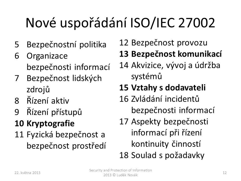 Nové uspořádání ISO/IEC 27002 5Bezpečnostní politika 6Organizace bezpečnosti informací 7Bezpečnost lidských zdrojů 8Řízení aktiv 9Řízení přístupů 10Kr