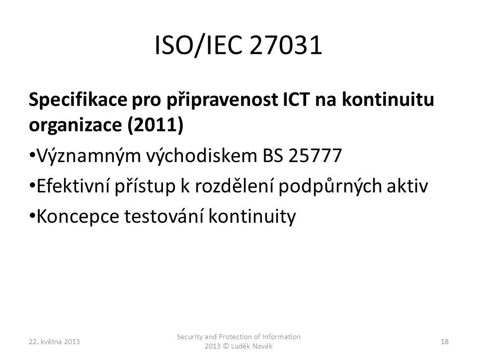 ISO/IEC 27031 Specifikace pro připravenost ICT na kontinuitu organizace (2011) Významným východiskem BS 25777 Efektivní přístup k rozdělení podpůrných