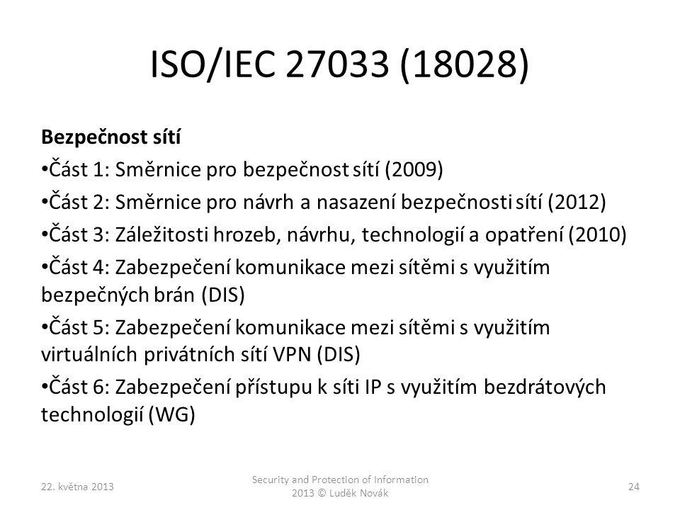 ISO/IEC 27033 (18028) Bezpečnost sítí Část 1: Směrnice pro bezpečnost sítí (2009) Část 2: Směrnice pro návrh a nasazení bezpečnosti sítí (2012) Část 3