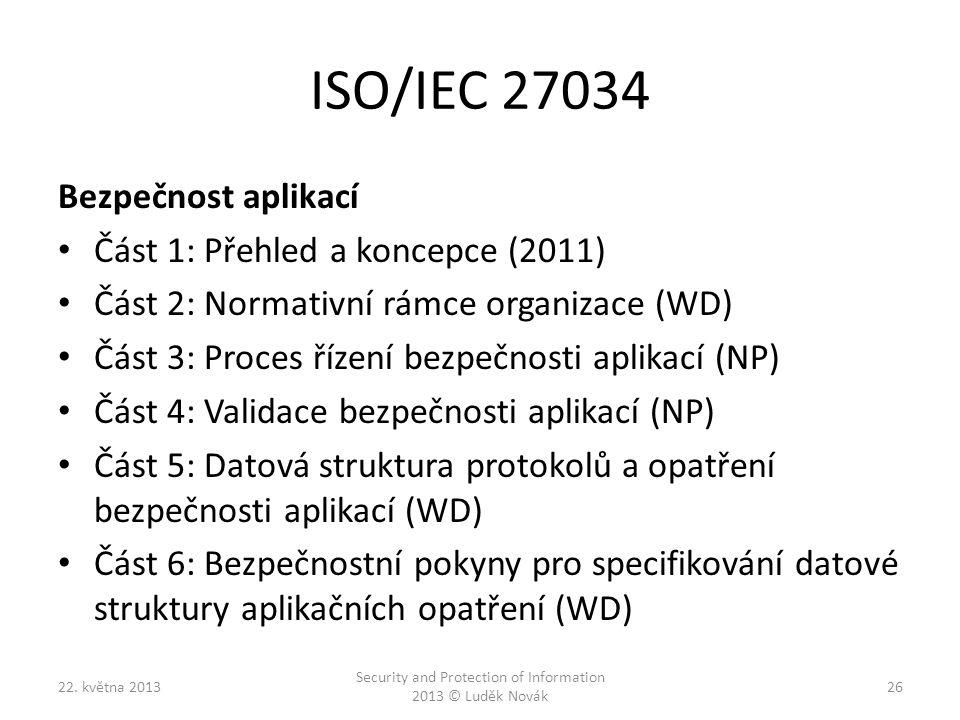 ISO/IEC 27034 Bezpečnost aplikací Část 1: Přehled a koncepce (2011) Část 2: Normativní rámce organizace (WD) Část 3: Proces řízení bezpečnosti aplikac