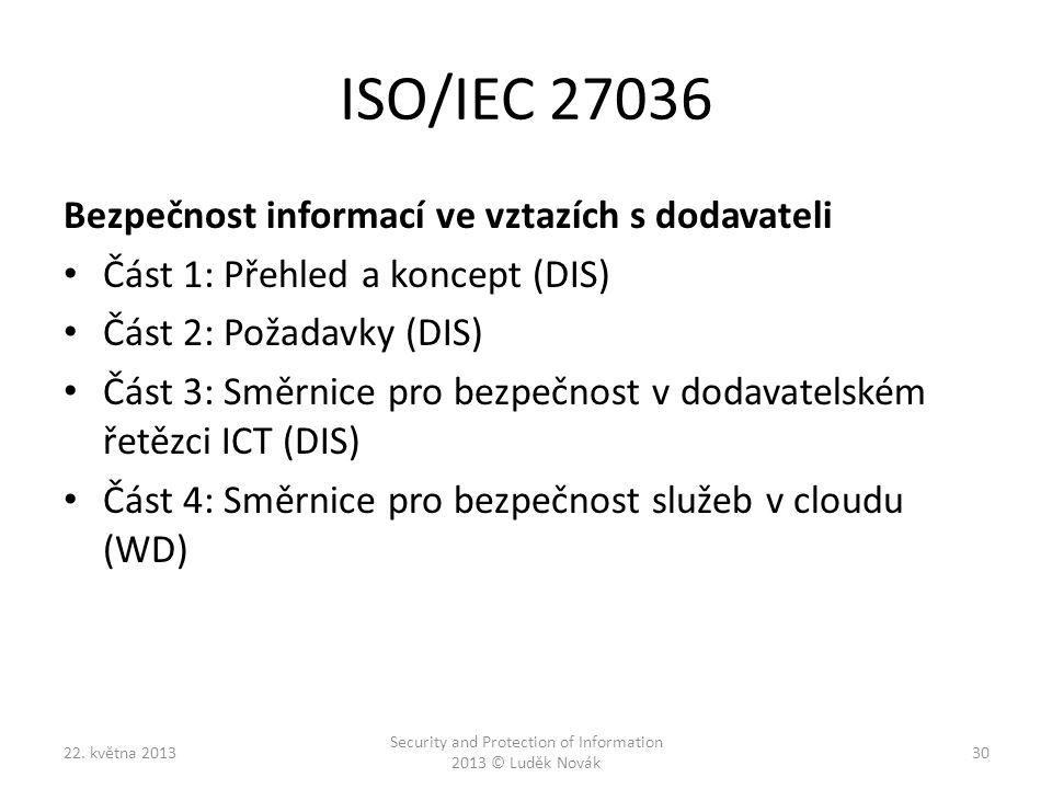 ISO/IEC 27036 Bezpečnost informací ve vztazích s dodavateli Část 1: Přehled a koncept (DIS) Část 2: Požadavky (DIS) Část 3: Směrnice pro bezpečnost v