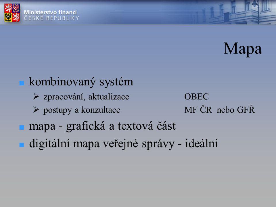 Mapa ■ kombinovaný systém  zpracování, aktualizaceOBEC  postupy a konzultace MF ČR nebo GFŘ ■ mapa - grafická a textová část ■ digitální mapa veřejné správy - ideální
