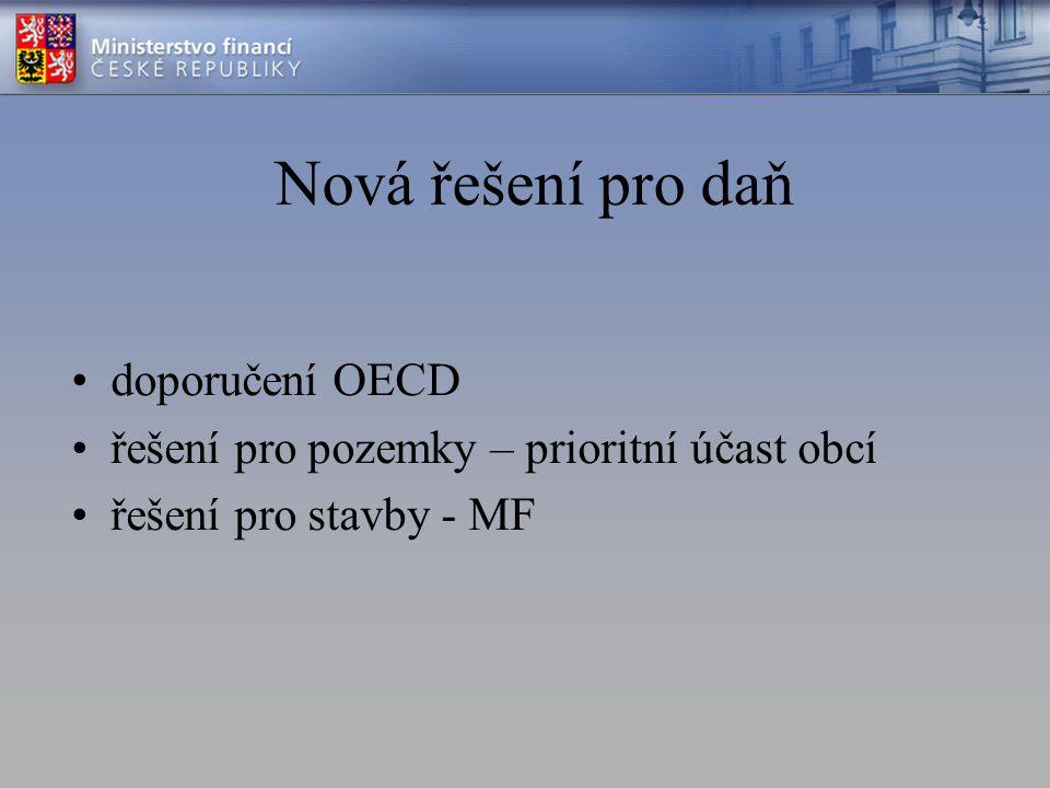 Nová řešení pro daň doporučení OECD řešení pro pozemky – prioritní účast obcí řešení pro stavby - MF