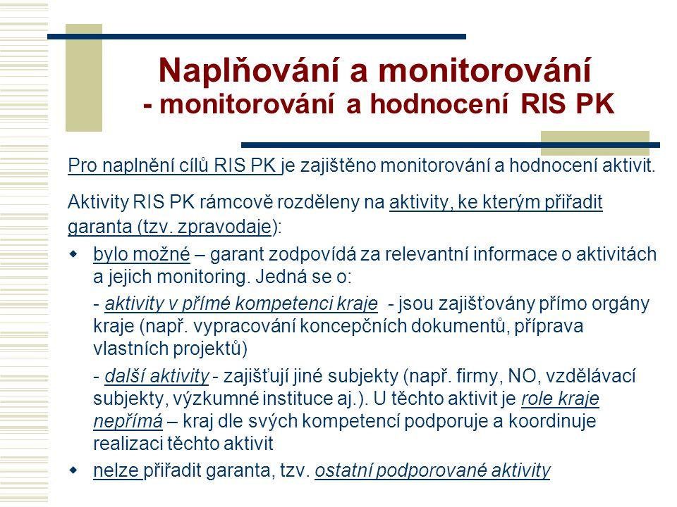 Naplňování a monitorování - monitorování a hodnocení RIS PK Pro naplnění cílů RIS PK je zajištěno monitorování a hodnocení aktivit.