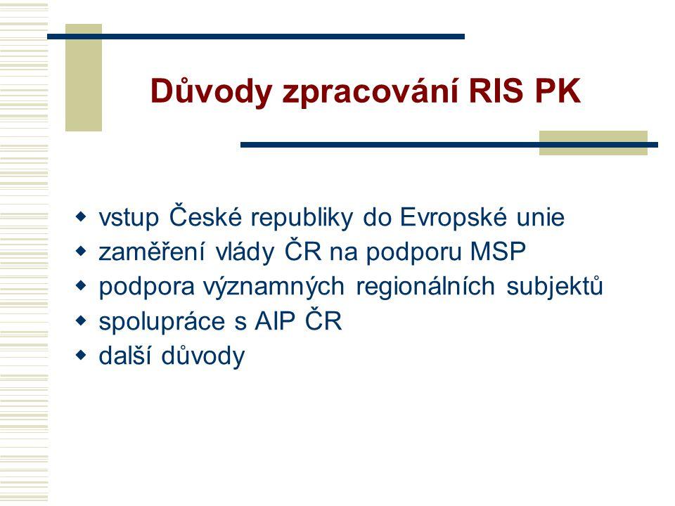 Důvody zpracování RIS PK  vstup České republiky do Evropské unie  zaměření vlády ČR na podporu MSP  podpora významných regionálních subjektů  spolupráce s AIP ČR  další důvody