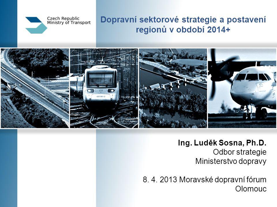 Integrovaný regionální operační program Specifické cíle – investiční priority  Modernizace a rozvoj sítí regionální silniční infrastruktury navazující na síť TEN-T a ve vazbě na řešení problémů propojení regionů a dopravy ve městech a městských aglomeracích  Rozvoj infrastruktury letišť zajišťujících propojení na síť letišť TEN-T  Rozvoj integrovaných dopravních systémů v regionech (multimodální terminály pro osobní dopravu včetně systémů P+R, K+R a B+R)  Podpora zavádění ITS ve veřejné dopravě  Podpora zavádění a obnovy ekologicky čistého vozového parku (tramvaje, trolejbusy, duobusy)  Rozvoj infrastruktury pro nemotorovou dopravu  Podpora rekreační plavby – v rámci osy cestovního ruchu