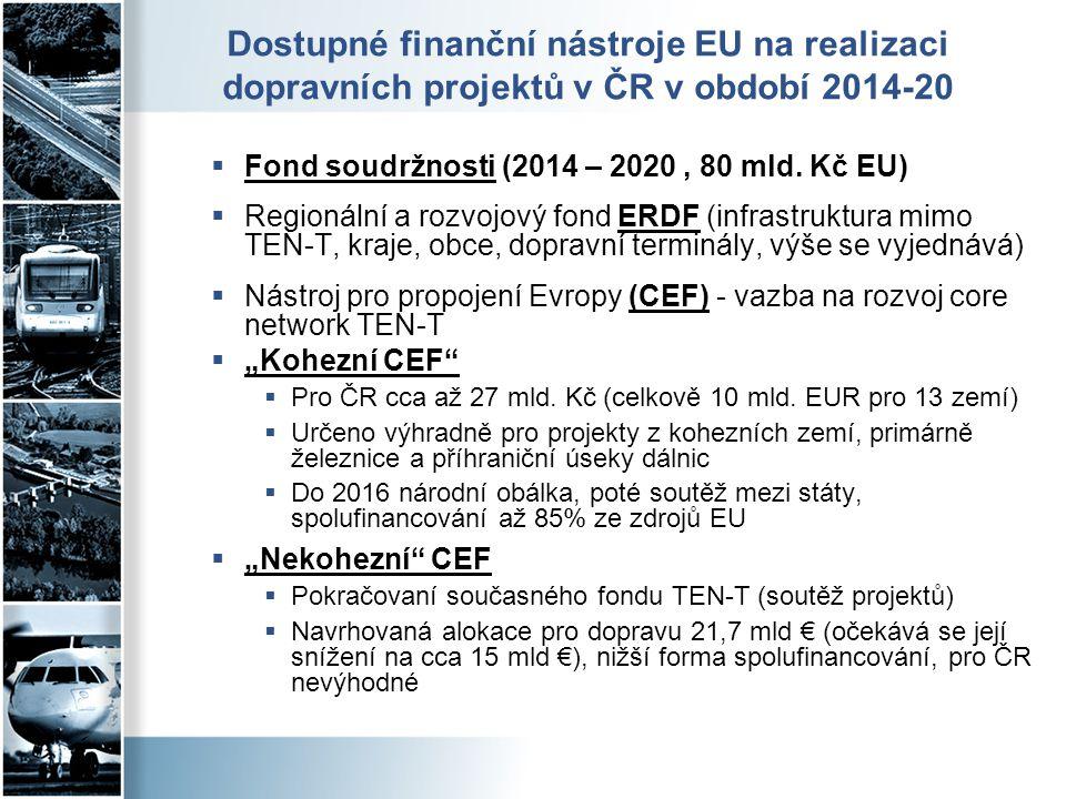 Dostupné finanční nástroje EU na realizaci dopravních projektů v ČR v období 2014-20  Fond soudržnosti (2014 – 2020, 80 mld. Kč EU)  Regionální a ro