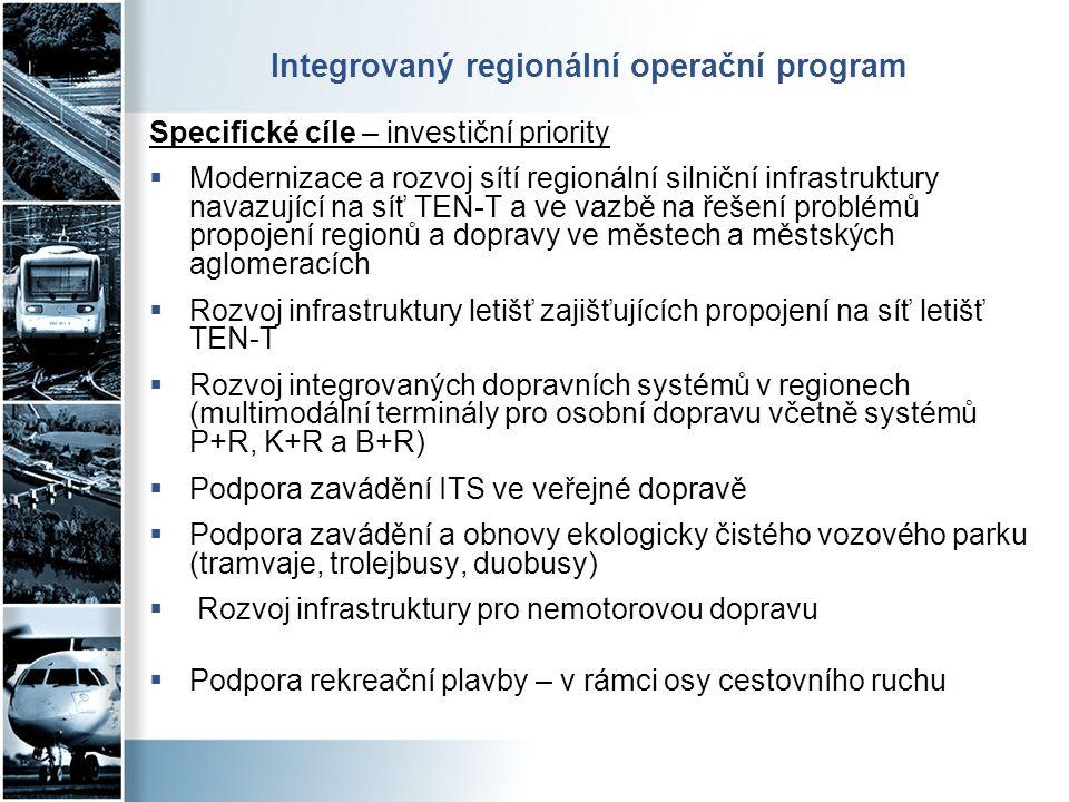 Integrovaný regionální operační program Specifické cíle – investiční priority  Modernizace a rozvoj sítí regionální silniční infrastruktury navazujíc