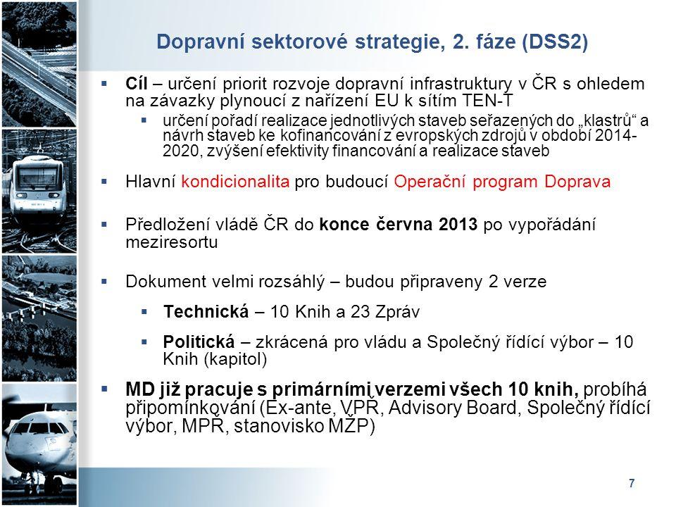 7 Dopravní sektorové strategie, 2. fáze (DSS2)  Cíl – určení priorit rozvoje dopravní infrastruktury v ČR s ohledem na závazky plynoucí z nařízení EU