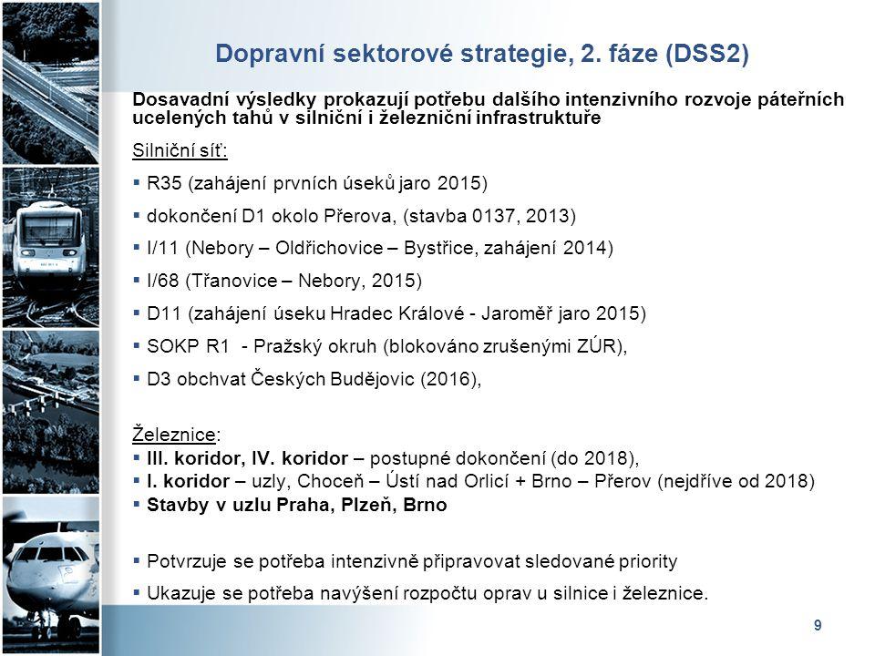 9 Dopravní sektorové strategie, 2. fáze (DSS2) Dosavadní výsledky prokazují potřebu dalšího intenzivního rozvoje páteřních ucelených tahů v silniční i
