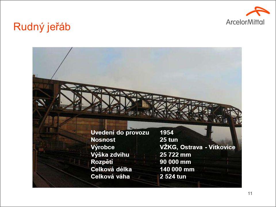 Rudný jeřáb Uvedení do provozu1954 Nosnost 25 tun Výrobce VŽKG, Ostrava - Vítkovice Výška zdvihu25 722 mm Rozpětí 90 000 mm Celková délka140 000 mm Celková váha 2 524 tun 11