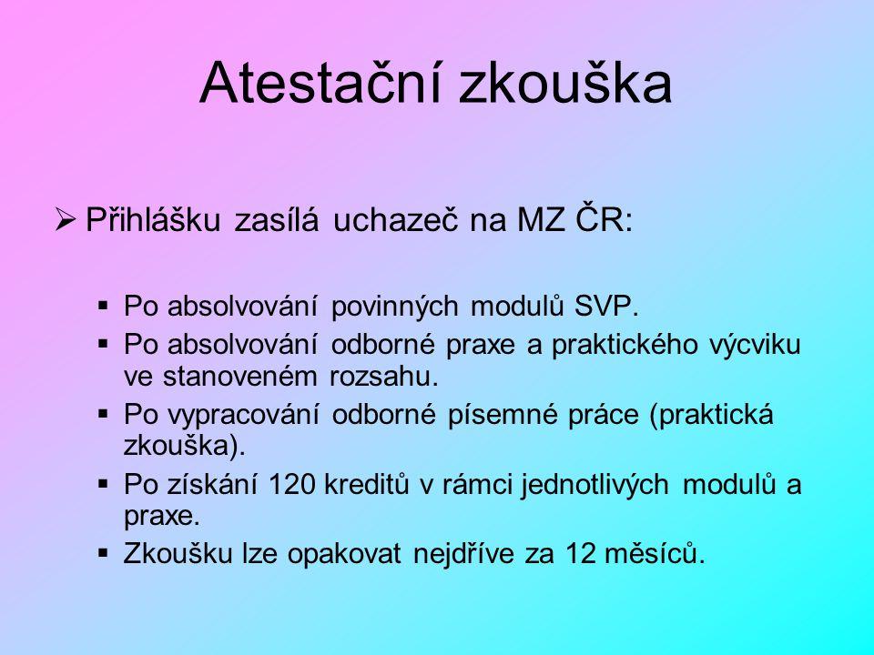 Atestační zkouška  Přihlášku zasílá uchazeč na MZ ČR:  Po absolvování povinných modulů SVP.  Po absolvování odborné praxe a praktického výcviku ve