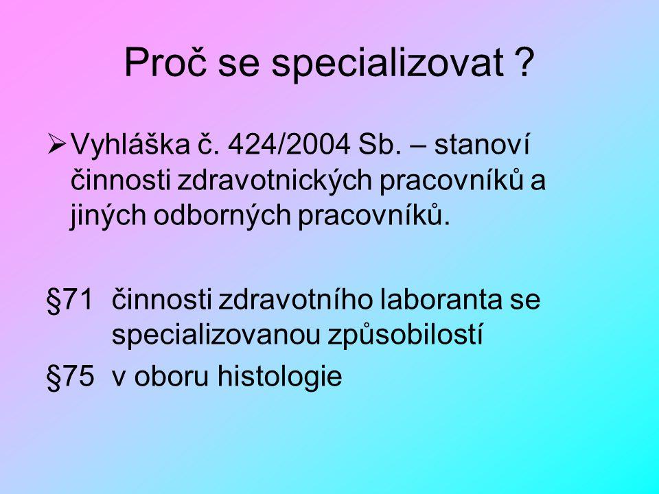 Proč se specializovat ?  Vyhláška č. 424/2004 Sb. – stanoví činnosti zdravotnických pracovníků a jiných odborných pracovníků. §71 činnosti zdravotníh