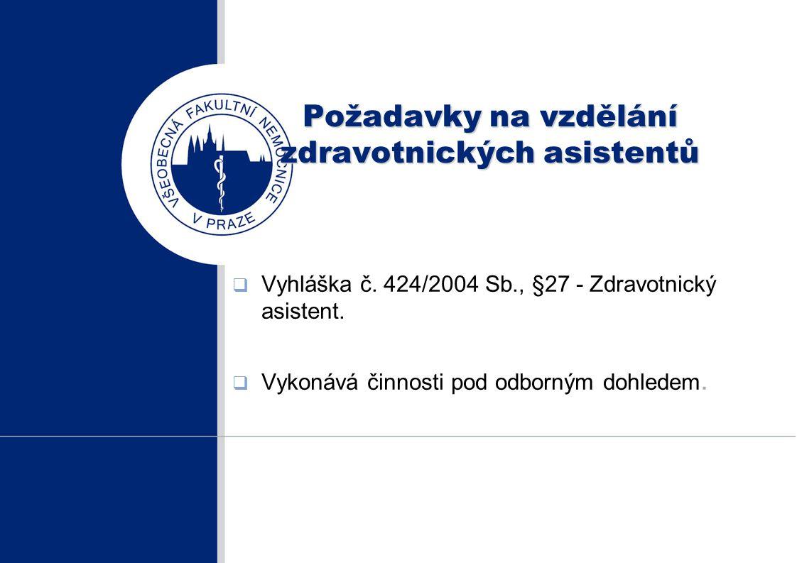 Požadavky na vzdělání zdravotnických asistentů  Vyhláška č. 424/2004 Sb., §27 - Zdravotnický asistent.  Vykonává činnosti pod odborným dohledem.