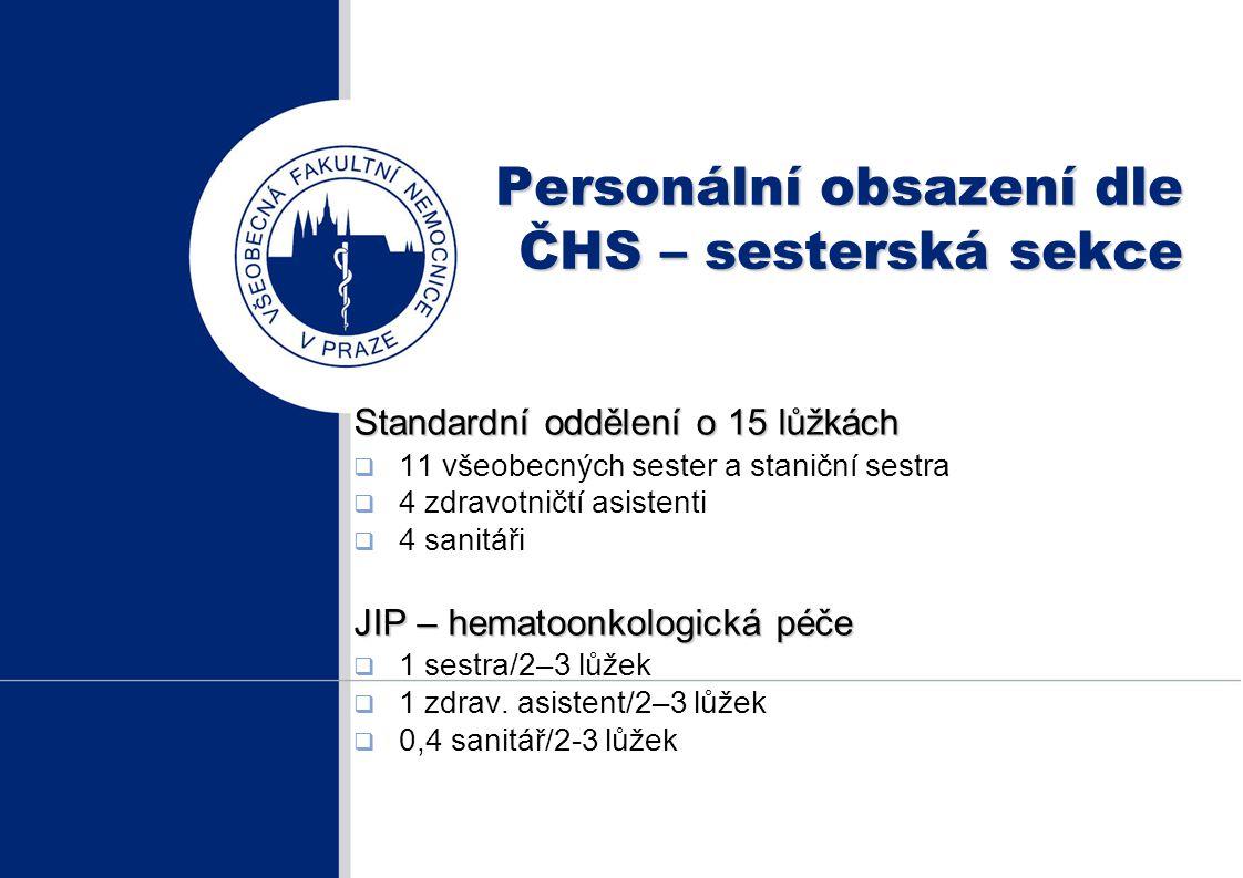 Personální obsazení dle ČHS – sesterská sekce Standardní oddělení o 15 lůžkách  11 všeobecných sester a staniční sestra  4 zdravotničtí asistenti 