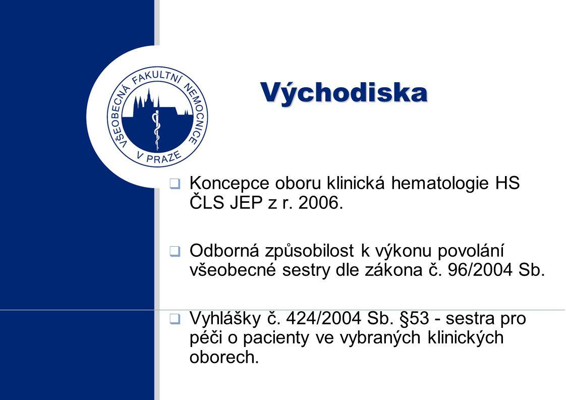 Východiska  Koncepce oboru klinická hematologie HS ČLS JEP z r. 2006.  Odborná způsobilost k výkonu povolání všeobecné sestry dle zákona č. 96/2004