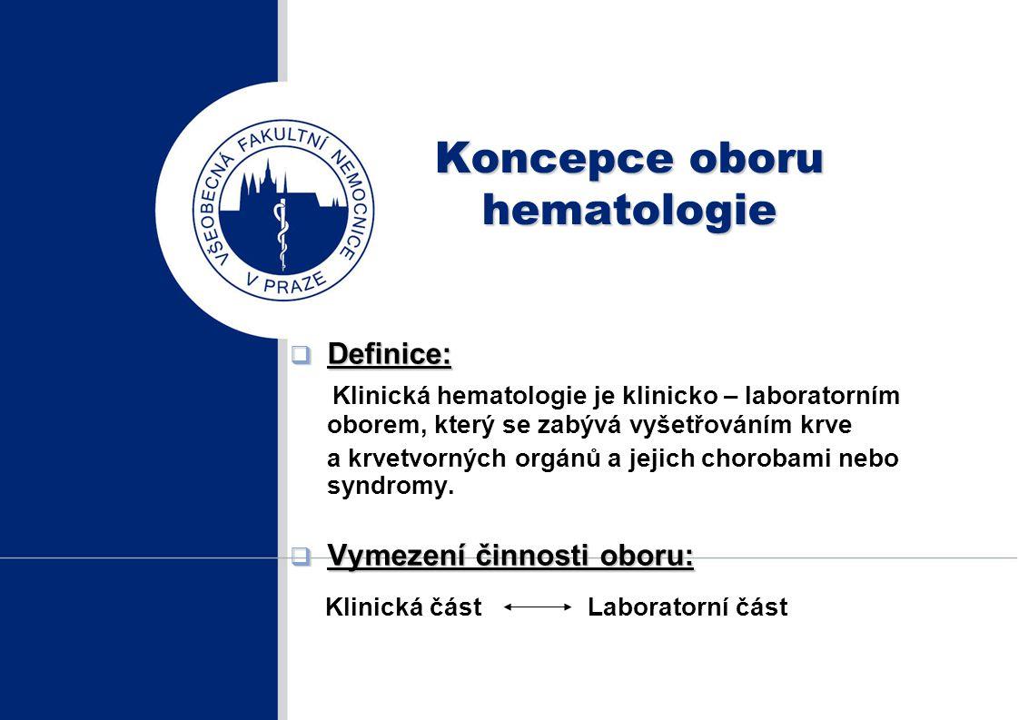Koncepce oboru hematologie  Definice: Klinická hematologie je klinicko – laboratorním oborem, který se zabývá vyšetřováním krve a krvetvorných orgánů