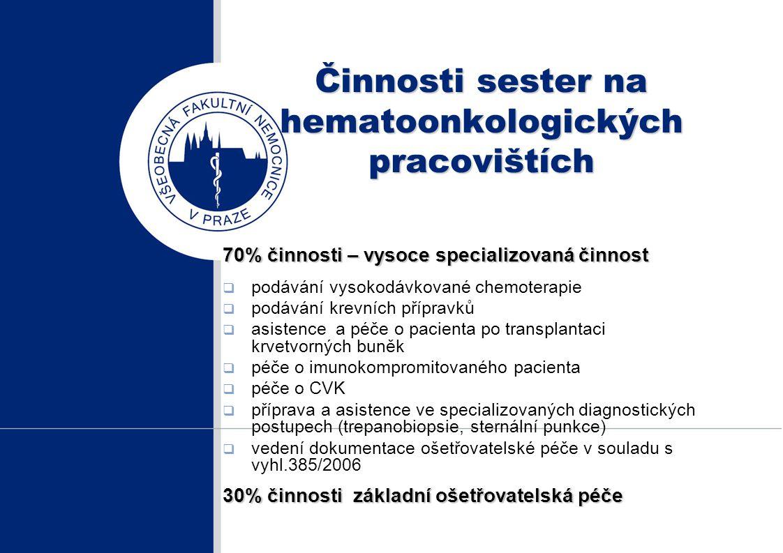 Činnosti sester na hematoonkologických pracovištích 70% činnosti – vysoce specializovaná činnost  podávání vysokodávkované chemoterapie  podávání kr