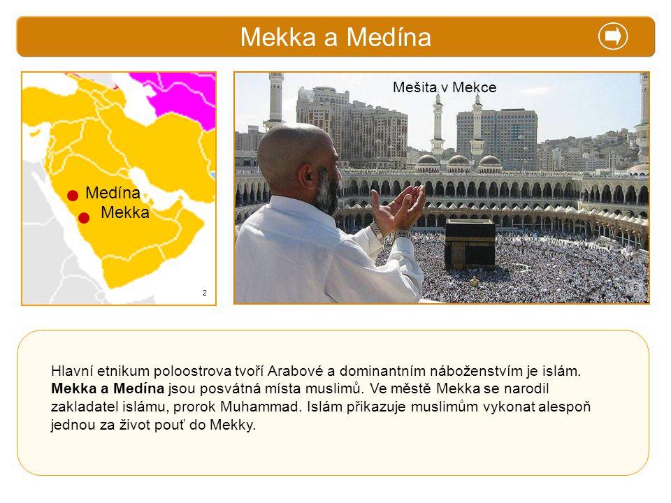 X. Zajímavosti Mekka a Medína Hlavní etnikum poloostrova tvoří Arabové a dominantním náboženstvím je islám. Mekka a Medína jsou posvátná místa muslimů