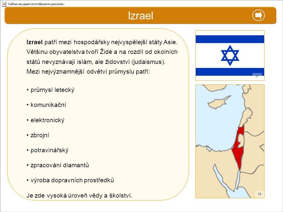 X. Zajímavosti Izrael Izrael patří mezi hospodářsky nejvyspělejší státy Asie. Většinu obyvatelstva tvoří Židé a na rozdíl od okolních států nevyznávaj