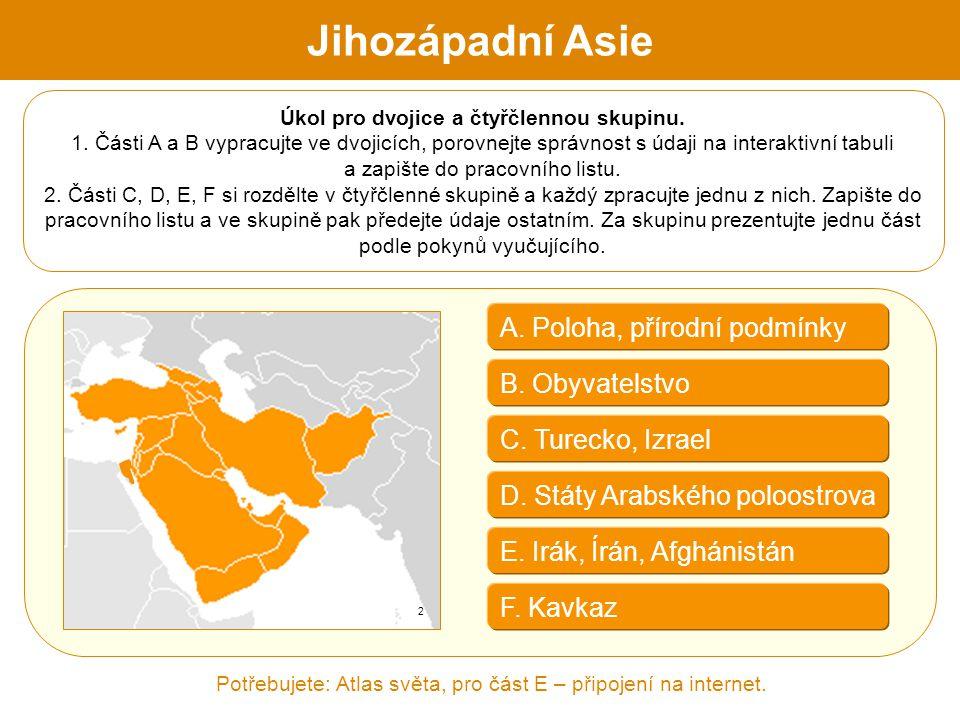 A. Poloha, přírodní podmínky B. Obyvatelstvo D. Státy Arabského poloostrova F. Kavkaz C. Turecko, Izrael Úkol pro dvojice a čtyřčlennou skupinu. 1. Čá