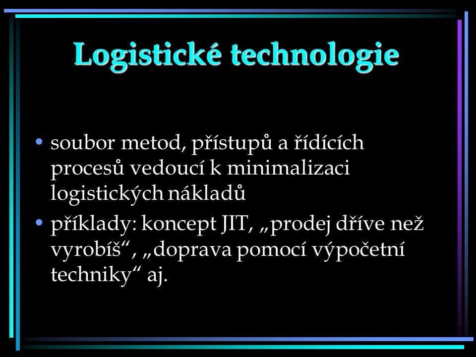 """Logistické technologie soubor metod, přístupů a řídících procesů vedoucí k minimalizaci logistických nákladů příklady: koncept JIT, """"prodej dříve než"""