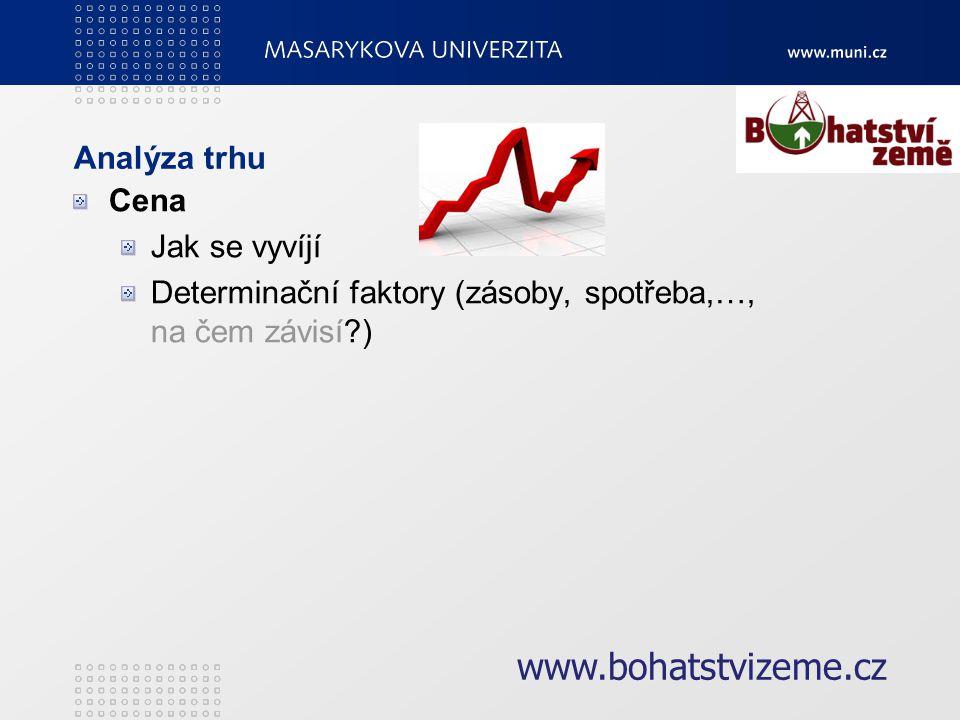 Analýza trhu Cena Jak se vyvíjí Determinační faktory (zásoby, spotřeba,…, na čem závisí ) www.bohatstvizeme.cz