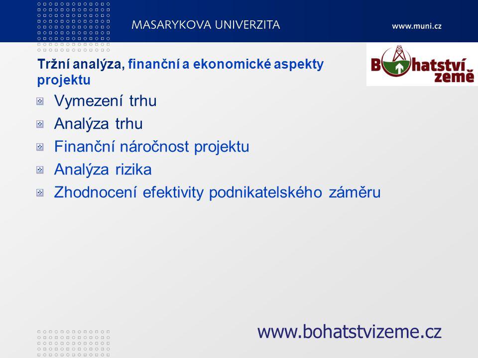 Tržní analýza, finanční a ekonomické aspekty projektu Vymezení trhu Analýza trhu Finanční náročnost projektu Analýza rizika Zhodnocení efektivity podnikatelského záměru www.bohatstvizeme.cz
