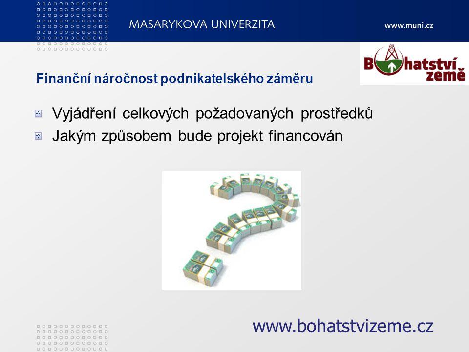 Finanční náročnost podnikatelského záměru Vyjádření celkových požadovaných prostředků Jakým způsobem bude projekt financován www.bohatstvizeme.cz