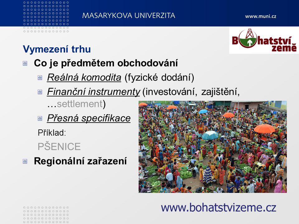 Analýza trhu Cena Jak se vyvíjí Determinační faktory (zásoby, spotřeba,…, na čem závisí?) www.bohatstvizeme.cz
