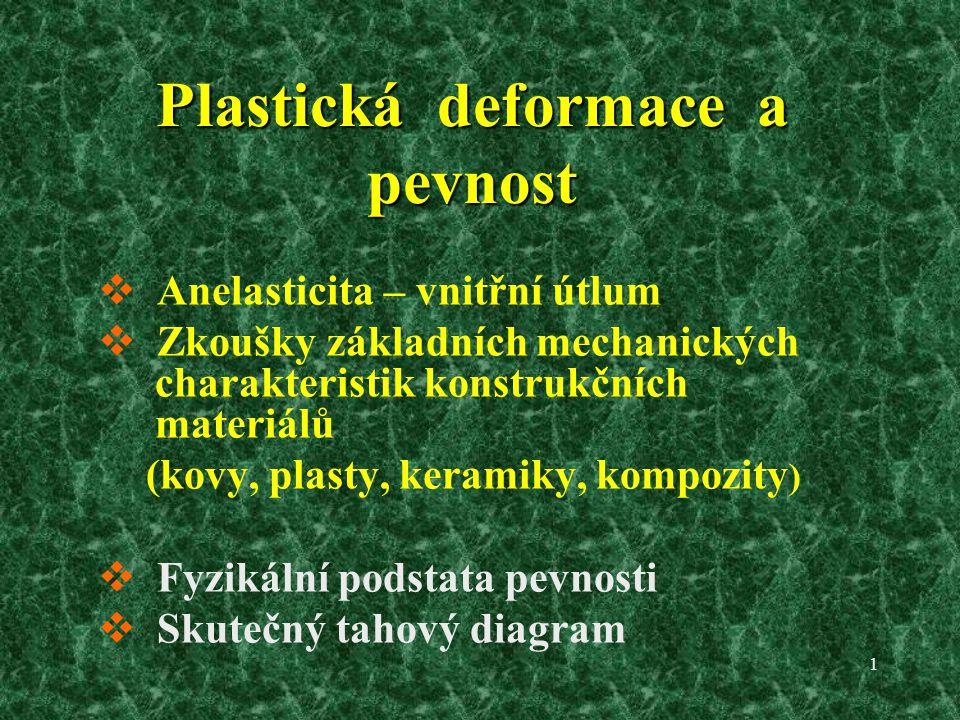 1 Plastická deformace a pevnost  Anelasticita – vnitřní útlum  Zkoušky základních mechanických charakteristik konstrukčních materiálů (kovy, plasty, keramiky, kompozity )  Fyzikální podstata pevnosti  Skutečný tahový diagram