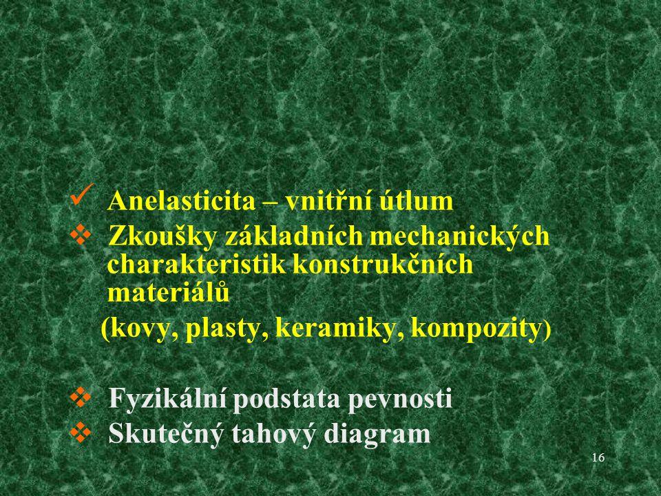 16 Anelasticita – vnitřní útlum  Zkoušky základních mechanických charakteristik konstrukčních materiálů (kovy, plasty, keramiky, kompozity )  Fyzikální podstata pevnosti  Skutečný tahový diagram