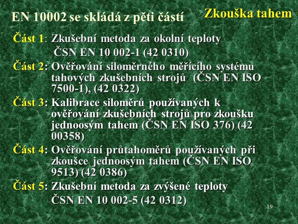 19 EN 10002 se skládá z pěti částí Zkušební metoda za okolní teploty Část 1:Zkušební metoda za okolní teploty ČSN EN 10 002-1 (42 0310) ČSN EN 10 002-1 (42 0310) Část 2: Ověřování siloměrného měřícího systému tahových zkušebních strojů (ČSN EN ISO 7500-1), (42 0322) Část 3: Kalibrace siloměrů používaných k ověřování zkušebních strojů pro zkoušku jednoosým tahem (ČSN EN ISO 376) (42 00358) Část 4: Ověřování průtahoměrů používaných při zkoušce jednoosým tahem (ČSN EN ISO 9513) (42 0386) Část 5: Zkušební metoda za zvýšené teploty ČSN EN 10 002-5 (42 0312) ČSN EN 10 002-5 (42 0312) Zkouška tahem