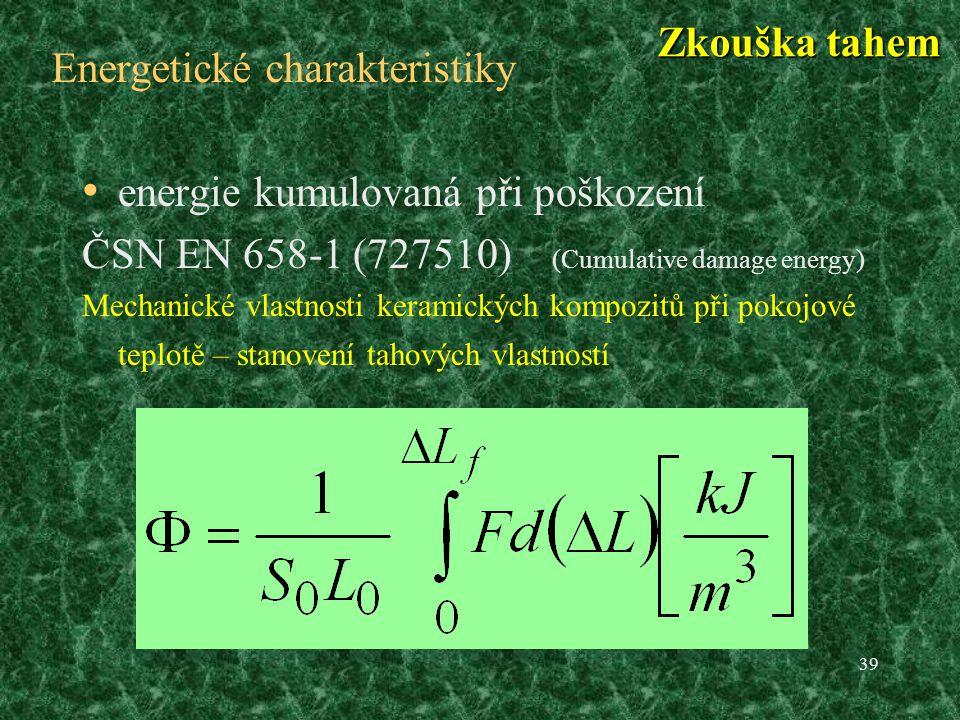 39 Energetické charakteristiky energie kumulovaná při poškození ČSN EN 658-1 (727510) (Cumulative damage energy) Mechanické vlastnosti keramických kompozitů při pokojové teplotě – stanovení tahových vlastností Zkouška tahem