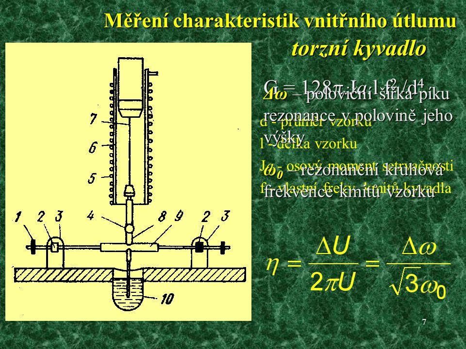7 torzní kyvadlo d - průměr vzorku l - délka vzorku Ja - osový moment setrvačnosti f - vlastní frekv.