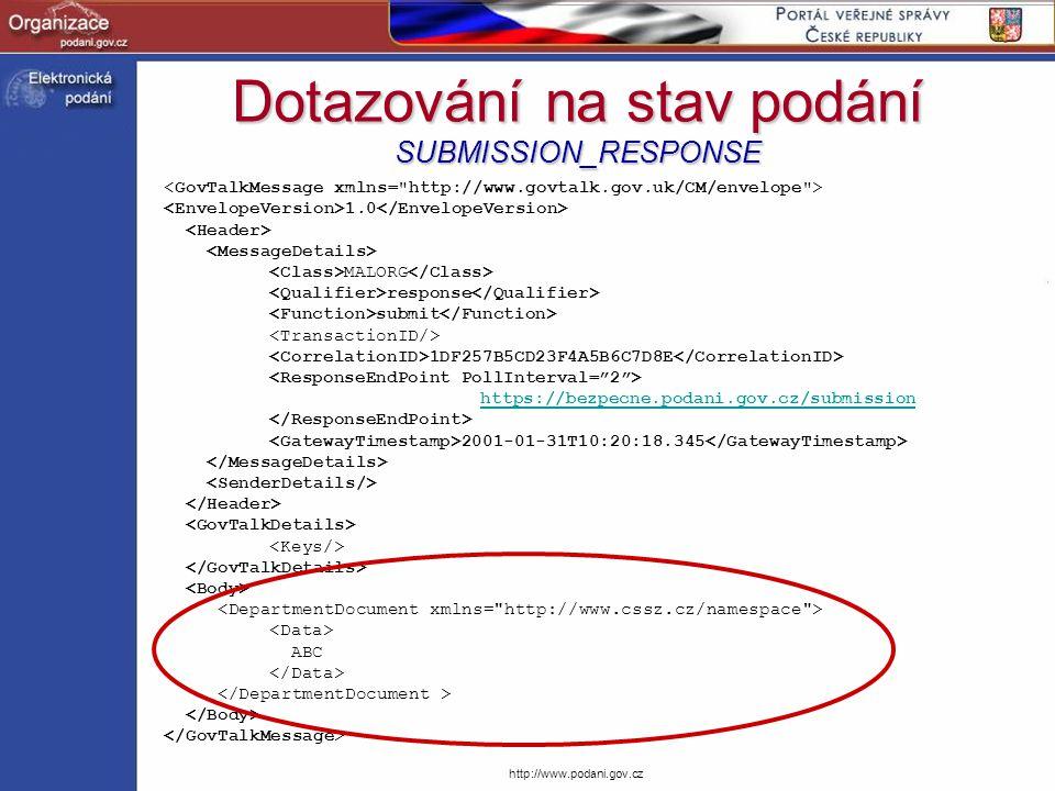 http://www.podani.gov.cz Dotazování na stav podání SUBMISSION_RESPONSE 1.0 MALORG response submit 1DF257B5CD23F4A5B6C7D8E https://bezpecne.podani.gov.