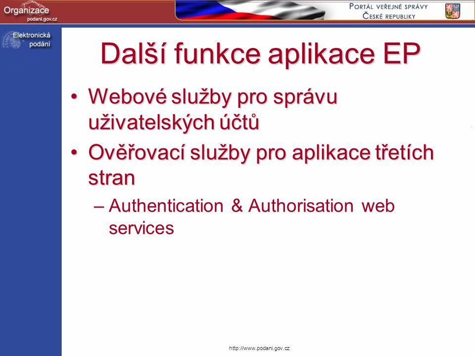 http://www.podani.gov.cz Další funkce aplikace EP Webové služby pro správu uživatelských účtůWebové služby pro správu uživatelských účtů Ověřovací slu
