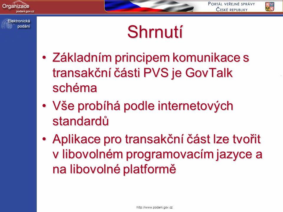 http://www.podani.gov.cz Shrnutí Základním principem komunikace s transakční části PVS je GovTalk schémaZákladním principem komunikace s transakční čá