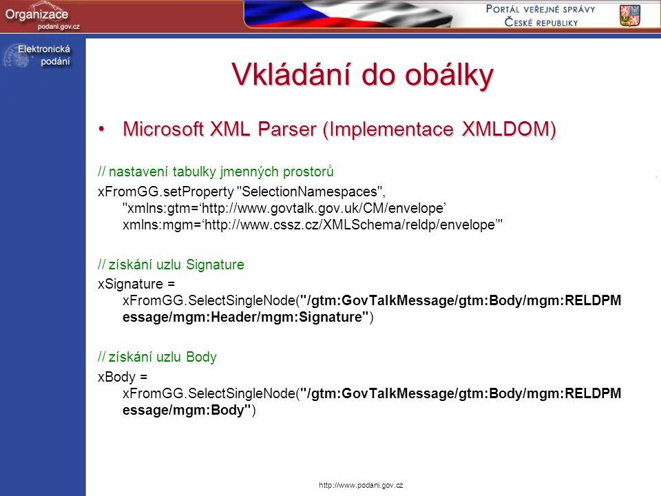 http://www.podani.gov.cz Vkládání do obálky Microsoft XML Parser (Implementace XMLDOM)Microsoft XML Parser (Implementace XMLDOM) // nastavení tabulky
