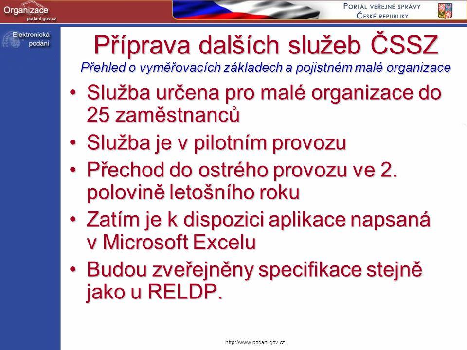 http://www.podani.gov.cz Příprava dalších služeb ČSSZ Přehled o vyměřovacích základech a pojistném malé organizace Služba určena pro malé organizace d