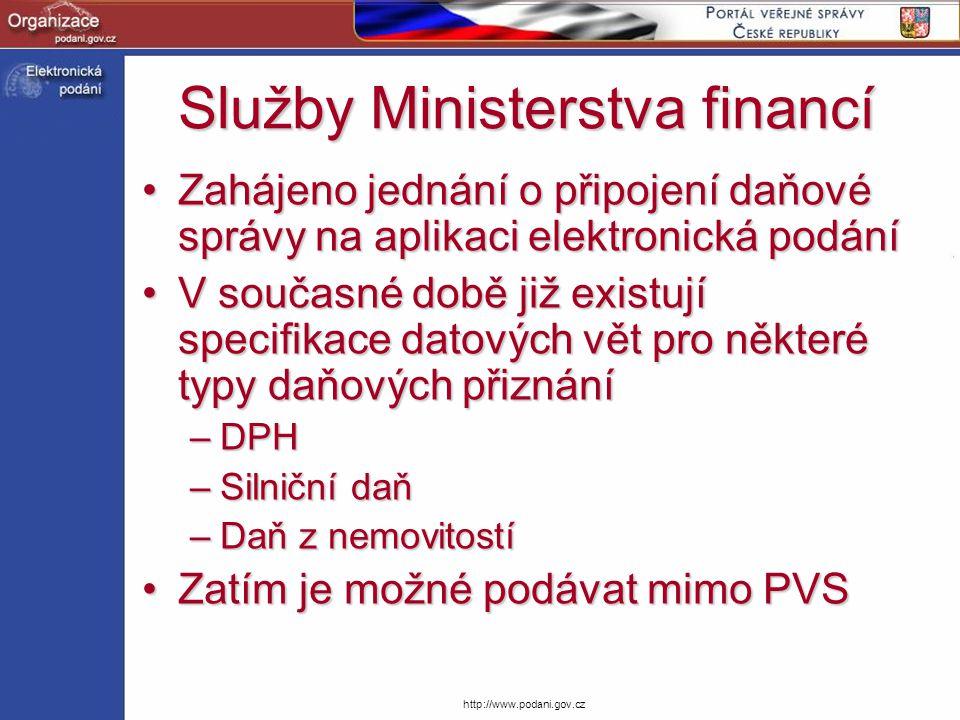 http://www.podani.gov.cz Služby Ministerstva financí Zahájeno jednání o připojení daňové správy na aplikaci elektronická podáníZahájeno jednání o přip